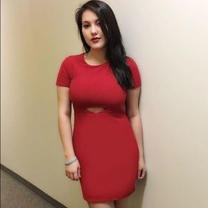 Express red dress with peekaboo cutout